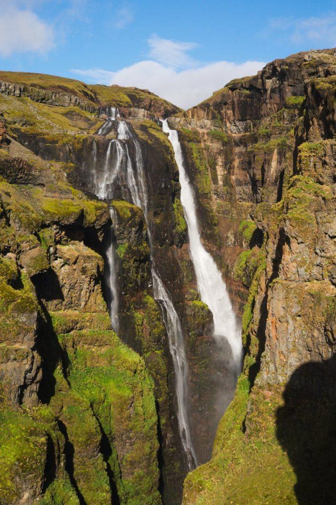 Der Wasserfall Glymur - 196 Meter Fallhöhe