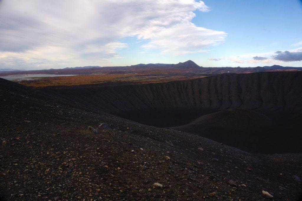 Blick über den Kraterrand des Hverfjall